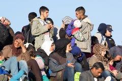 Imágenes dramáticas de la crisis eslovena del refugiado Fotografía de archivo libre de regalías