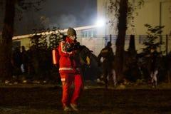 Imágenes dramáticas de la crisis eslovena del refugiado Foto de archivo libre de regalías