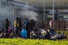 Imágenes dramáticas de la crisis eslovena del refugiado Fotos de archivo