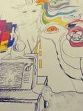 Imágenes frescas al azar del arte psychadellic trippy del bosquejo del ejemplo del dibujo Imagenes de archivo