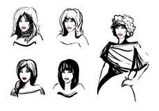 Imágenes lineares blancos y negros de las muchachas para los eventos de la moda y el st Imagen de archivo