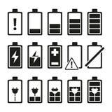 Imágenes monocromáticas de la batería del smartphone en diversos niveles de carga libre illustration