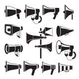 Imágenes monocromáticas determinadas de megáfonos Símbolos del vector de la publicidad ilustración del vector