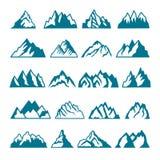 Imágenes monocromáticas fijadas de diversas montañas Colecciones del vector para el diseño de las etiquetas libre illustration