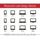 Imágenes responsivas del vector del icono Vector responsivo plano de los iconos del diseño Sistema de imágenes responsivo del vec Foto de archivo
