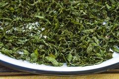 Imágenes secadas de la menta, naturales y orgánicas de la menta fresca, salsa de menta secada en la imagen para hacer la sopa, me Imagenes de archivo