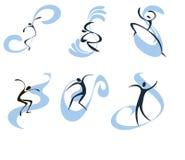 Imágenes simbólicas de personas que practica surf Imagen de archivo libre de regalías