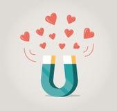 Imán que atrae corazones del amor ilustración del vector