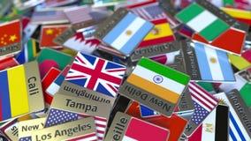 Imán del recuerdo o insignia con el texto de Buenos Aires y bandera nacional entre los diversos El viajar a la Argentina ilustración del vector
