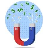 Imán en forma de 'U' con los campos magnéticos que atraen el ejemplo plano del vector del estilo de los dólares stock de ilustración