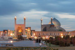 Imã Mosque após a obscuridade, Isfahan Fotos de Stock Royalty Free