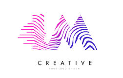 IM ζέβες σχέδιο λογότυπων επιστολών γραμμών Ι Μ με τα ροδανιλίνης χρώματα Στοκ εικόνες με δικαίωμα ελεύθερης χρήσης