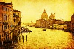 Im altem Stil Abbildung des Canal Grande in Venedig Lizenzfreies Stockbild