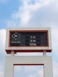 Im altem Stil Anzeigetafel am Fußballstadion Stockfotografie