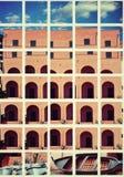 Im altem Stil errichtende Fassadenarchitektur stockfotografie
