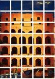 im altem Stil errichtendes Fassadenarchitekturmosaik stockbilder