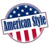 Im amerikanischen Stil runder Ausweisknopf mit Elementen der amerikanischen Flagge stockfotos