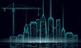 Im Bau Kran des niedrigen Polygebäudes Industrielle moderne Geschäftstechnologie Zusammenfassung polygonales geometrisches 3D stock abbildung