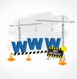 Im Bau Seite mit blauen WWW-Buchstaben Stockbild