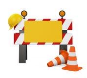 Im Bau Sperre, Verkehrs-Kegel und Schutzhelm lizenzfreie abbildung
