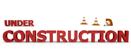 Im Bau Zeichen mit Verkehrskegeln - 3d im Stockbilder