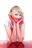 Im a bit dirty. Woman covered in red liquid Stock Images