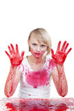 Im a bit dirty. Woman covered in red liquid Royalty Free Stock Photography