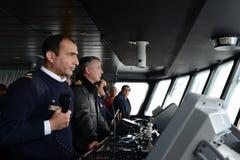 Im Cockpit eines Passagierschiff ` über Australis ` das Archipel von Tierra del Fuego stockbilder