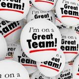 Im en un gran orgullo de Team Buttons Pins Employees Group Imagenes de archivo
