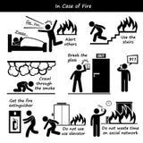 Im Falle der Feuer-Notfallplan-Ikonen Stockfotos