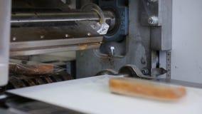 Im Flughafen lötet der Mechanismus die kleinen unterschiedlichen Taschen mit Brot stock footage