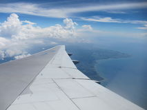 Im Flugzeug über Bali Stockfoto