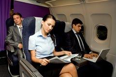Im Flugzeug Stockfoto