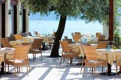 Im Freienkaffee in Italien Stockbilder