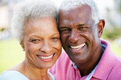 Im Freienportrait der glücklichen älteren Paare Stockfotos