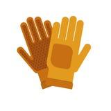 Im Garten arbeitende flache gelbe Handschuhe für Arbeit über weißen Hintergrund vector Illustration Landarbeiterschutz Lizenzfreies Stockfoto