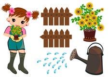 Im Garten arbeitende gesetzte Kinder Lizenzfreie Stockbilder