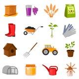 Im Garten arbeitende gesetzte Vektorikonen Sammlung des Bauernhofes, Landwirtschaft, Gartenikonen Lizenzfreies Stockfoto