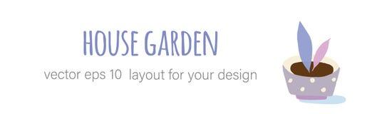Im Garten arbeitende Hauptanlagen in den keramischen T?pfen lizenzfreie abbildung