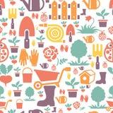 Im Garten arbeitendes nahtloses Musterdesign mit netter Ebene Lizenzfreie Stockfotografie