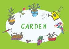 Im Garten arbeitenfahne mit Blumen lizenzfreie abbildung