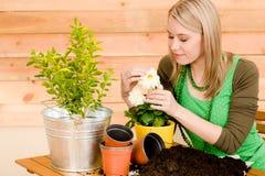 Im Garten arbeitenfrau, die Frühlingsblume pflanzt Lizenzfreie Stockfotos