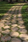 Im Garten nach Häusern ein langer Steinfußweg Lizenzfreies Stockfoto