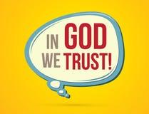 Im Gott vertrauen wir Text Stockbilder