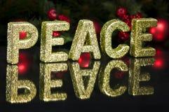 Im Großbuchstaben schriftlich Frieden, Funkelneffekt Lizenzfreies Stockbild