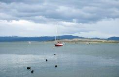 Im Hafen von Ushuaia - die südlichste Stadt der Erde Stockfotos