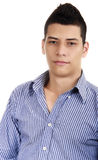 Im Here Waiting. Young man portrait in a insolated background Stock Image