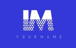 IM I M Dotted Letter Logo Design con el fondo azul Imagen de archivo
