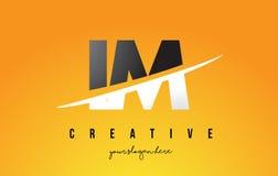 IM I M Letter Modern Logo Design avec le fond jaune et le Swoo illustration libre de droits