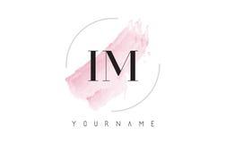 IM I M Watercolor Letter Logo Design con el modelo circular del cepillo Imagenes de archivo